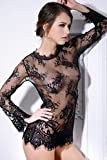 Ohyeah Womnes Lingerie Lace See Through Long Sleeves Base Tops with G sting One size(UK 6-10)