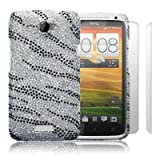 HTC One X Zebra Striped Diamante Case / Cover / Shell / Shield + 2-in-1 Screen Protector Pack Part Of The Qubits Accessories Rangeby Qubits