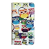 Owl Series for Samsung Galaxy S4 I9500 Cute Lovely Big Eye Eule Pattern Print Wallet Purse Bag Cell Phone Case mobile Cover Protect Skin with Credit Card Slot (guy2-4)