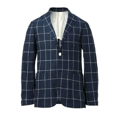 (タケオ キクチ)TAKEO KIKUCHI ヴィンテージフォギーダイリネンチェックジャケット ネイビー系(294) 02(M)