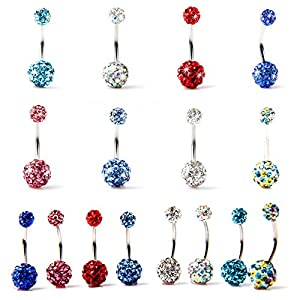 BODYA Lot of 8pc 14G Swarovski Crystal Double Gem Belly Button Ring Bling Body Jewelry Piercing Ring 8 Pack