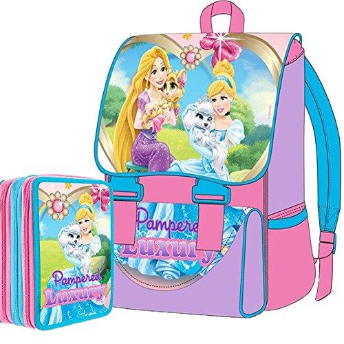 Kit Scuola School Pack Zaino Estensibile + Astuccio 3 Zip Disney Principesse Palace Luxury Edizione 2015-2016