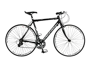 Viking Men's Treviso 700 C 16 SPD STI Flat Bar Road Bike - Black, 59 cm from Viking