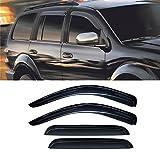 VIOJI 4pcs Dark Smoke Outside Mount Style Sun Rain Guard Vent Shade Window Visors Fit 98-03 Dodge Durango / 00-04 Dakota Crew Cab (Aka Quad Cab) Which Has 4 Full Size Doors