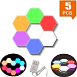 Smart Touch-Sensitive Hexagonal Wall Lights Modular LED Honeycomb Night Lights Creative Geometry Assembly DIY Modern Wall Lamps Decoration for Bedroom DIY Lovers Gifts (5 Pcs (Rainbow)) (Color: 5 Pcs (rainbow))