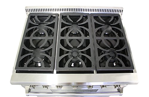 "36"" Professional Style Stainless Steel Gas Range with 6 Burners (HRG3618U)"