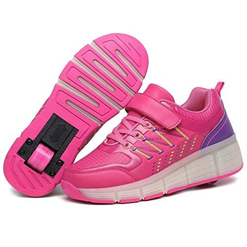 [ Kind LED Heelys ] iisport® Unisex Heelys sommer Atmungsaktives Roller Skate Schuhe Mit räder Mädchen Jungen Licht wheelys Kinder LED schuhe Heelys pink 38
