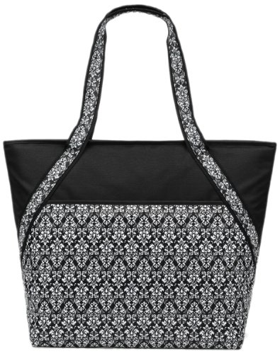 Sachi 192-149 Insulated Fashion Lunch Tote, Black and White Damask - 1