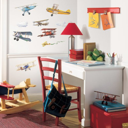 RoomMates RMK1197SCS Vintage Planes Peel & Stick Wall Decals, 22 Count