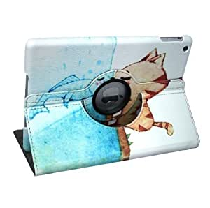 Termichy? The Cat and Fish in Love Pattern 360 Degrees Rotating Stand Leather Case for Apple iPad air/iPad 5 by Termichy [並行輸入品]