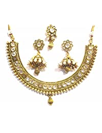 Shingar Jewellery Ksvk Jewels Antique Gold Plated Polki Kundan Necklace Set For Women (9257-as)