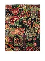 HF LIVING Alfombra Vintage Kilim (Rosa / Negro / Verde)