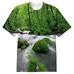 Snoogg White Water Mens Casual All Over Printed T Shirts Tees