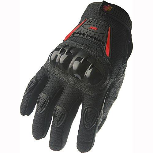 Street Bike Full Finger Motorcycle Racing Gloves 09 (Med, black/red)