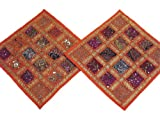 Orange Designer Sofa Cushions 2 Indian Sari Kundan Decorative Throw Pillows