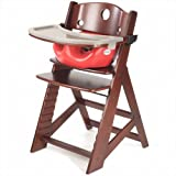 Height Right High Chair in Mahogany with Infant Insert and Tray in Cherry