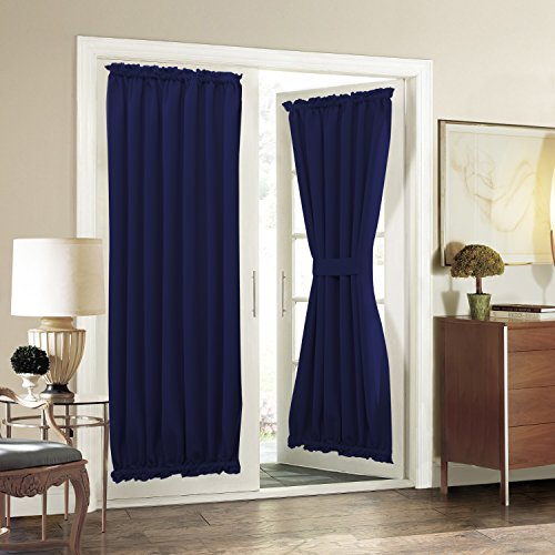 Aquazolax Blackout Drapery Solid Curtains Privacy with Tiebacks for French Glass Door - 1 Panel, 54