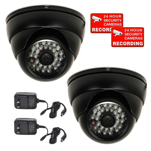 """Videosecu 2 Pack 700Tvl Built-In 1/3"""" Sony Effio Color Ccd Ir Day Night Vision Dome Security Cameras Outdoor Weatherproof Vandal Proof High Resolution 3.6Mm Wide Angle View Lens 28 Infrared Leds For Home Cctv Dvr Surveillance System With Bonus Power Suppl"""