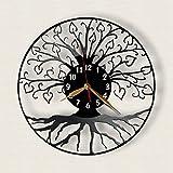 Tree of Life Wall Clock 12 inch (30cm) / Laser cut of Vintage Vinyl Record (Black clockface, Arabic digits)