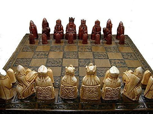 Isle of lewis chessmen - full size complete set of chess set game pieces vintage and collectors 0