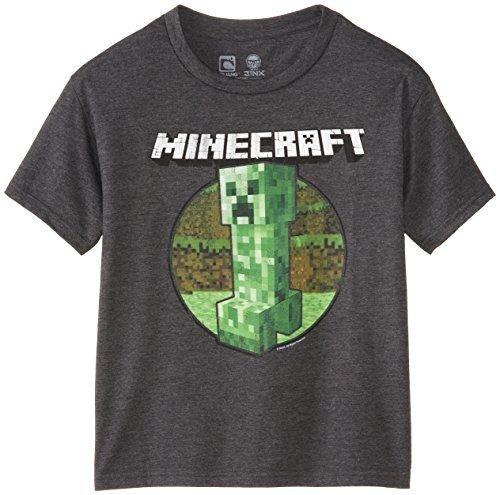 Retro-de-Minecraft-Creeper-Camiseta-Gris-gris