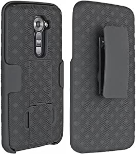 OEM VERIZON BLACK SHELL CASE BELT CLIP HOLSTER COMBO + STAND FOR LG VS980 VS 980