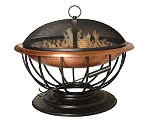Hand hammered copper fire pit with unique convertible for Amazon prime fire pit