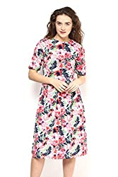 White Floral Print Pleat Dress