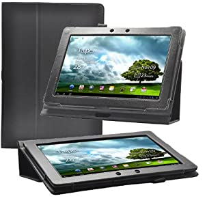 Poetic Slimbook Leather Case for the Asus Transformer TF300 Black with Build In Stand