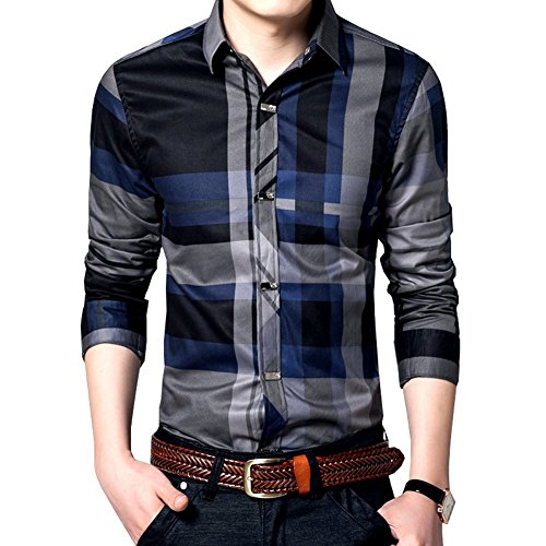 Womleys Mens Long Sleeve Slim Fit Casual Plaid Dress Shirts (Asian XXL (US Medium), Blue)