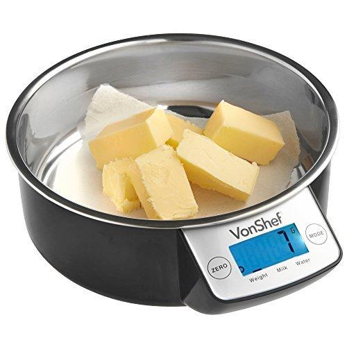 VonShef Balance de Cuisine électronique avec bol en acier inoxydable Haute Qualité 5kg/11lb