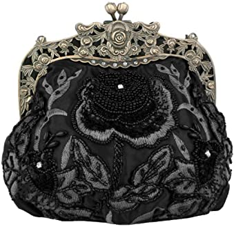 MG Collection Black Antique Beaded Rose Evening Purse Clutch Handbag w/ Chain