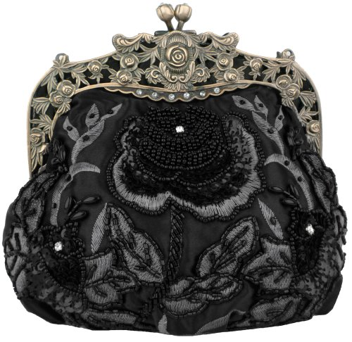 Black Antique Beaded Rose Evening Handbag, Clasp Purse Clutch w/Removable Chain