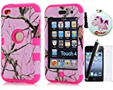 XYUN Deluxe 3-Pieces ShockProof Pink Real Tree Camo Hard Case Cover Skin for Ipod Touch 4 4g 4th Gen with a XYUN Mobile Phone Cleaner Dust Plug Gift, Screen Protector and Long stylus (hot pink)