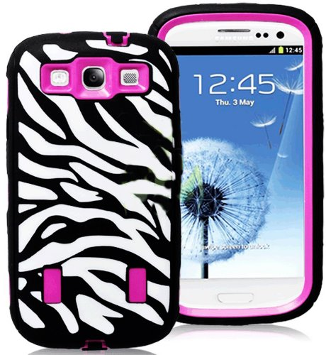 Mylife (Tm) Black And Rose Pink - Zebra Stripes Armor Series (Durable Built In Screen Protector + Urban Body Armor Glove) Case For Samsung Galaxy S3 Gt-I9300 And Gt-I9305 Touch Phone (Thick Silicone Outer Gel + Tough Rubberized Internal Shell)