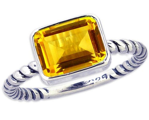 Twisted Sterling Silver Stackable Ring with Medium East-West Octagon Genuine Gemstone-Citrine-in full,half,quarter sizes from 3.5 to 12_4.25