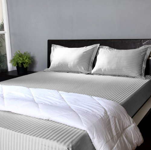 "800 Tc Stripe 1Pc Fitted Sheet + 2 Pillow Cases White Color California King Size Fits Mattress Upto 26"" Deep front-846241"