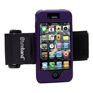 Tuneband for iPhone 4 and iPhone 4S, Grantwood Technology's Armband, Silicone Skin, and Front and Back Screen Protector, Purple
