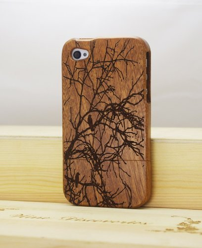 Old Tree Bird Natural Real Wood Bamboo Wooden Hard Cover Case for Iphone 4 4G 4S