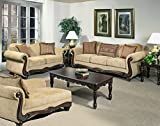 Full Set of Living Room Collection (1 x Sofa, 1 x Loveseat, 1 x Chaise) - Thunder Brass / Hindu Scarlet / Pop Fire