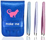 Tweezers Set of 3 Stainless Steel With Leatherette Case (Frosted Glitter Series: Blue Flat, White Pointed and Pink Slant Tip) Best for Eyebrow / Ingrown Hair - Precision Tweezer Kit