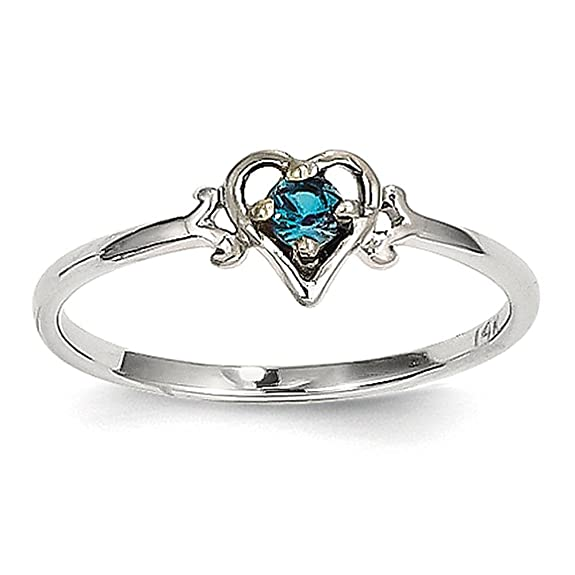 14K White Gold Synthetic Alexandrite Birthstone Heart Ring