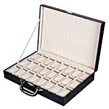 Autoark AW-009 Black Leather 24 Compartment Watch Display Case Box with Lock and Key