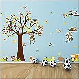 DDLBiz® 234 * 150cm šŠcureuil hibou singe sticker mural pour la chambre des enfants