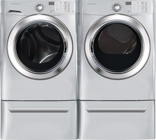 Frigidaire Pair Special-Ultra Stylish, Mega Capacity Laundry System With Ready Steam And Matching Pedestals (Fffs5115Pa+Ffse5115Pa+Cfpwd15A X2)