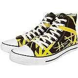 EVH Eddie Van Halen Yellow Striped On Black Shoes 1200 High Top Unisex Sneakers