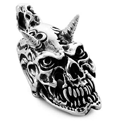 JBlue Jewelry men's Large Stainless Steel Pendant Necklace Silver Skull Heavy Biker-with 23 inch Chain (with Gift Bag) from JBlue Jewelry