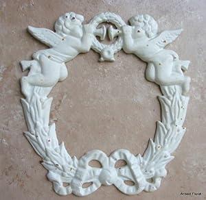 Cast Iron Angel Cherub Wreath Topper Frame