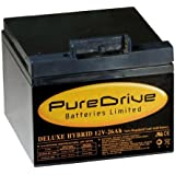 Pure Drive 18 Hole Deluxe Hybrid with T-Bar Golf Trolley Battery - Black, 12 V/26 Ah