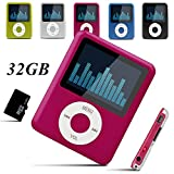 Lecmal 32GB MP3/MP4 Player , Multifunctional MP3 Player / MP4 Player Music Player Voice Recorder Media Player Flash Disk , Portable MP3/MP4 Player with 32G Micro SD Card Mini USB Port -Pink